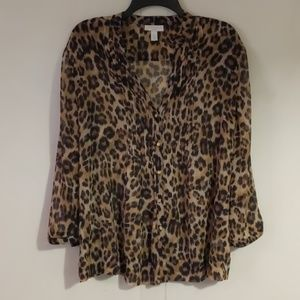 Charter Club PL Leopard Print Button Down Blouse
